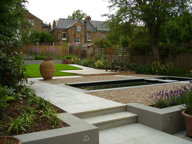 Terraced Backyard Pool : garden with formal pool garden view contemporary terraced garden with