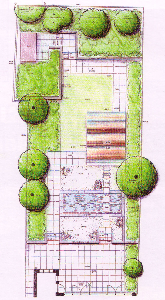 Contemporary terraced garden with formal pool for Landscape layout plan