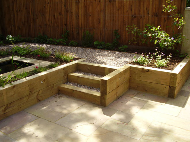 shady low maintenance garden on two levels