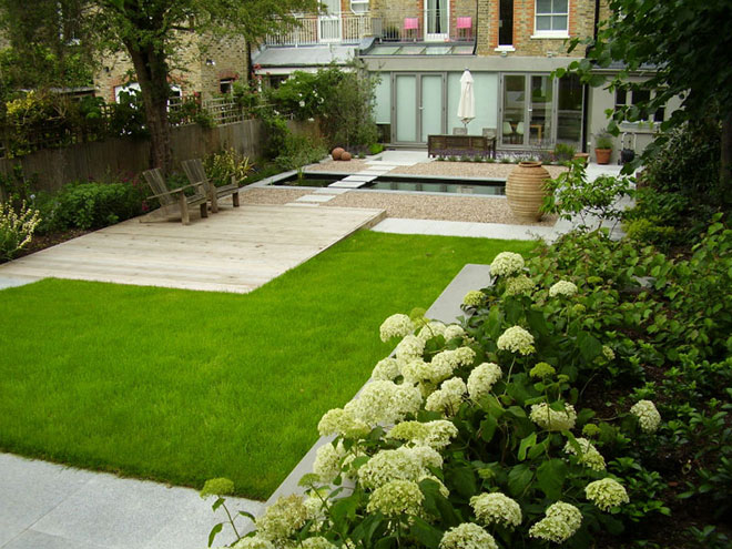 Contemporary garden with formal pool